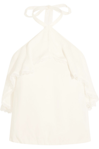 Alice Olivia - Monet Lace-trimmed Ruffled Silk-chiffon Top - Cream
