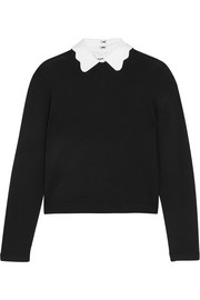 Alice + Olivia Dia scalloped-collar wool-blend sweater