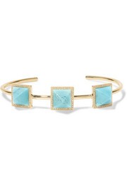 Jennifer Meyer 18-karat gold, turquoise and diamond cuff