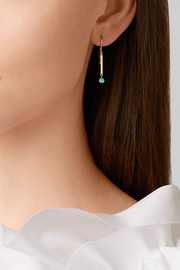 Mini Stick 18-karat gold turquoise earrings