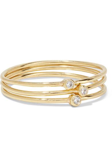 Jennifer Meyer - Set Of Three 18-karat Gold Diamond Rings - 6