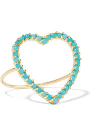 Open Heart 18-karat gold turquoise ring