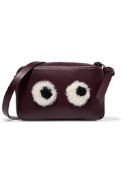 Eyes mini shearling-trimmed leather shoulder bag