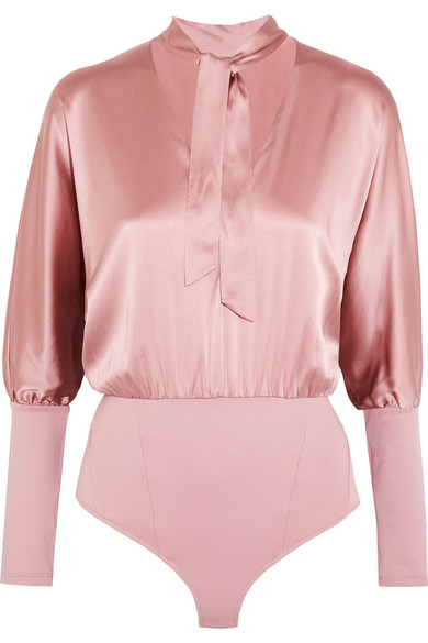 Fleur Du Mal - Pussy-bow Jersey-paneled Stretch-silk Satin Bodysuit - Baby pink