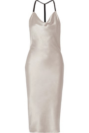 Draped silk-charmeuse midi dress