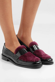 Joshua Sanders Last Dance faux fur-trimmed glossed-leather loafers