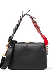 Anya Hindmarch Triple Stack suede-trimmed leather shoulder bag