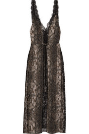 Margo lace-trimmed animal-print silk dress