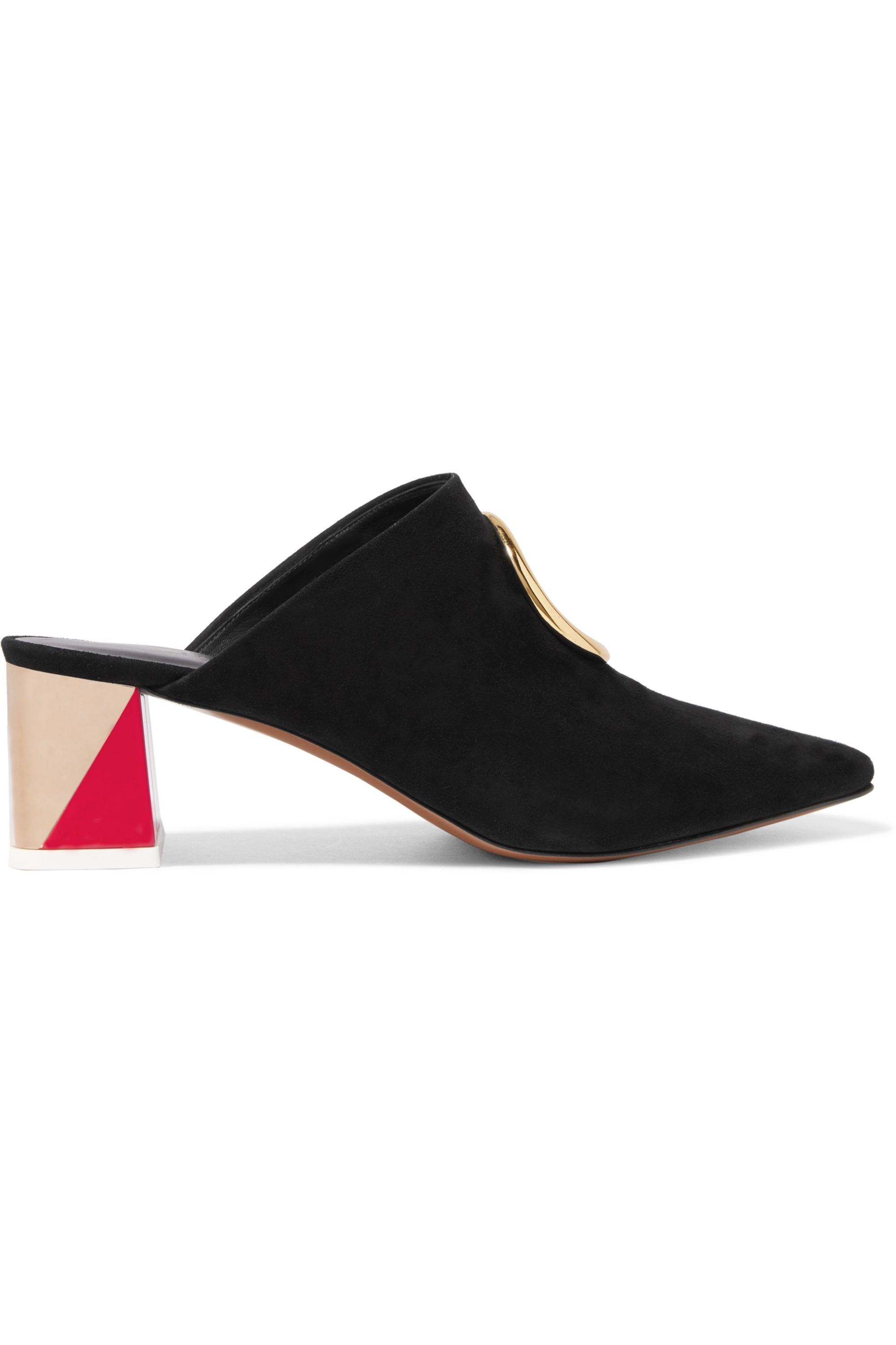 Neous Embellished cutout suede mules