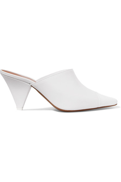 NEOUS Paneled Leather And Perspex Mules in White