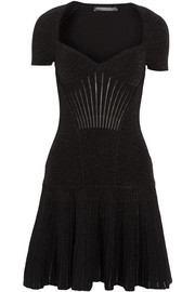 Alexander McQueen Metallic ribbed stretch wool-blend mini dress