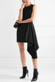 Asymmetric wool-blend mini dress