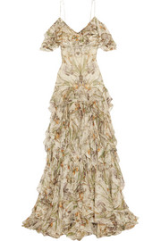Alexander McQueen Cold-shoulder ruffled floral-print silk-crepon gown