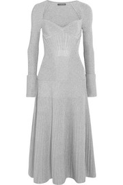 Alexander McQueen Metallic ribbed stretch wool-blend midi dress