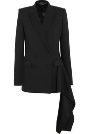 Draped satin-trimmed wool-crepe blazer