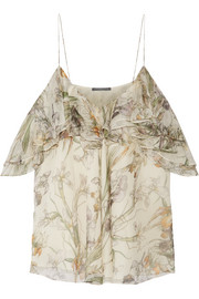 Alexander McQueen Cold-shoulder printed silk-crepon top