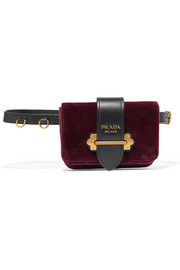 Leather-trimmed velvet belt bag