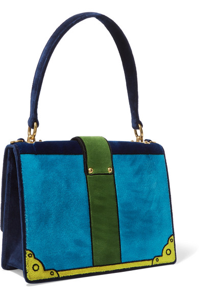 Prada Schultertasche aus Samt in Colour-Block-Optik