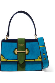 Prada Color-block velvet shoulder bag