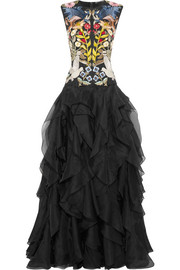Alexander McQueen Ruffled embroidered silk-organza gown
