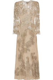 Alexander McQueen Fringed sequined tulle gown