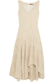 Metallic wool-blend bouclé-tweed midi dress