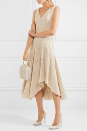 Alexander McQueen Metallic wool-blend bouclé-tweed midi dress