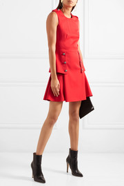 Alexander McQueen Pleated grain de poudre wool mini dress
