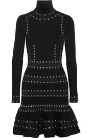 Alexander McQueen Eyelet-embellished stretch-knit turtleneck mini dress