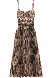 Alexander McQueen Belted pleated printed silk crepe de chine midi dress