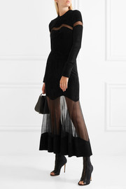 Mesh-paneled fleece midi dress