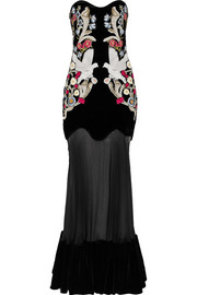 Alexander McQueen Embellished velvet and silk-tulle gown