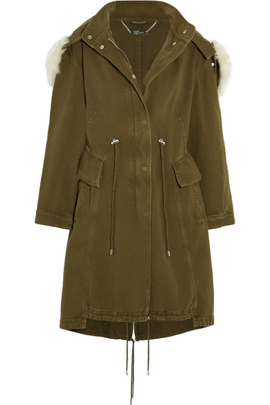 SHEARLING-TRIMMED COTTON-DRILL PARKA