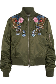 Embellished embroidered shell bomber jacket