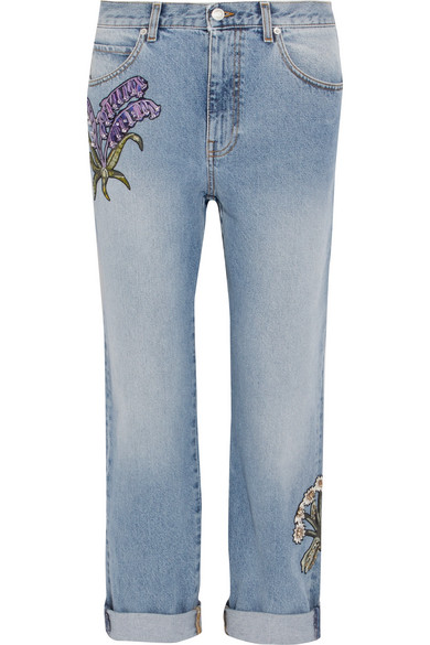 Alexander McQueen - Floral-embroidered Boyfriend Jeans - Light denim