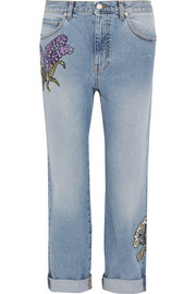 Floral-embroidered boyfriend jeans