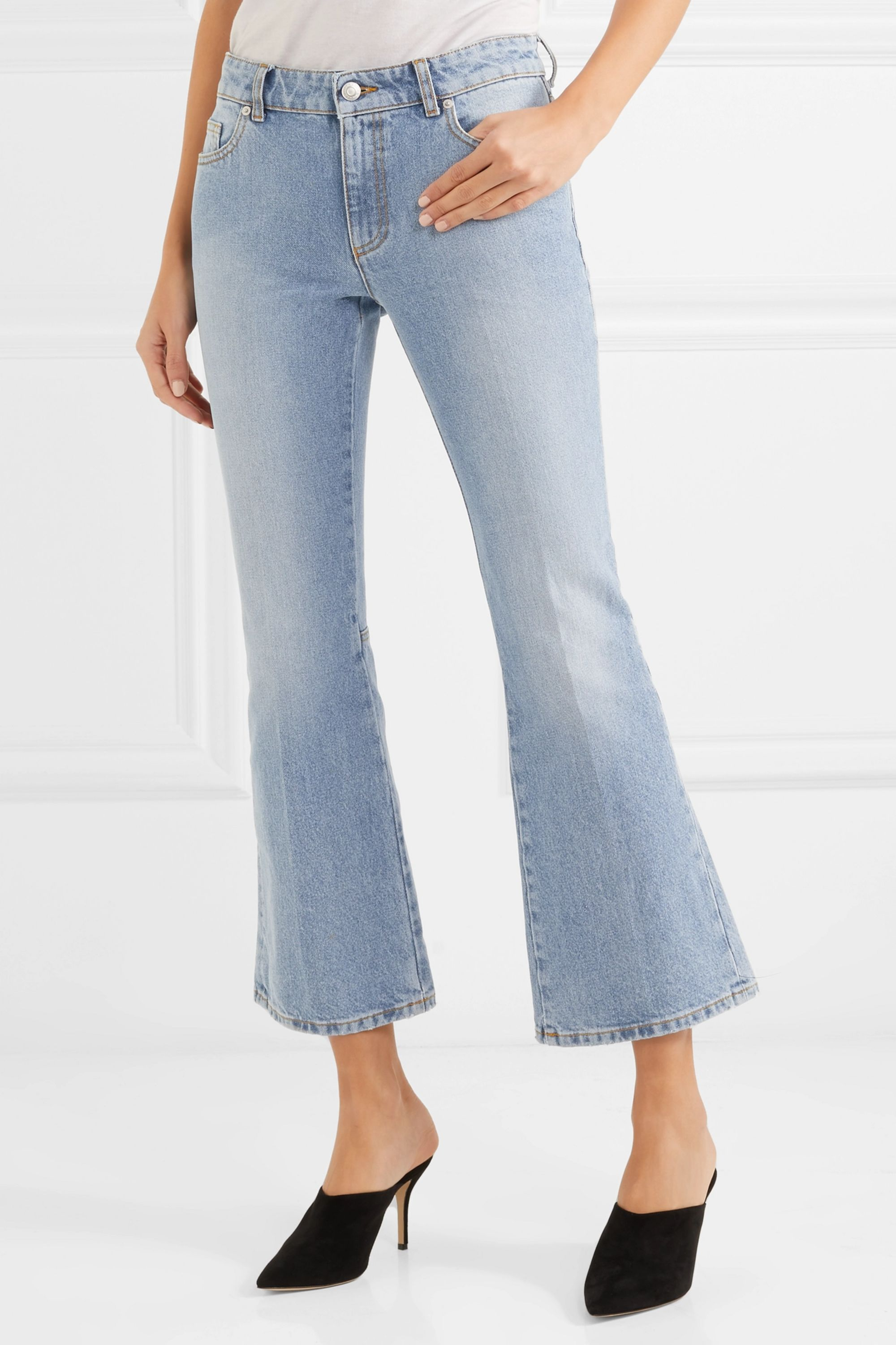 Alexander McQueen Cropped mid-rise flared jeans