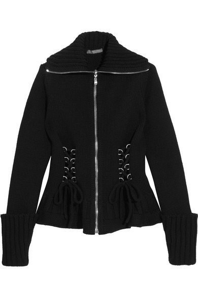 Alexander McQueen - Lace-up Wool Peplum Jacket - Black