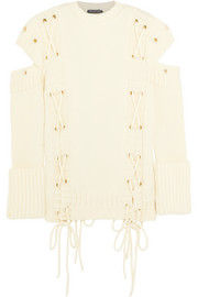 Alexander McQueen Cutout lace-up wool sweater