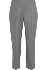 Wool-jacquard straight-leg pants