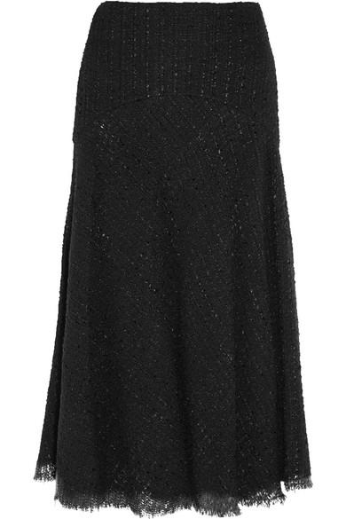 Alexander McQueen - Metallic Bouclé-tweed Midi Skirt - Black