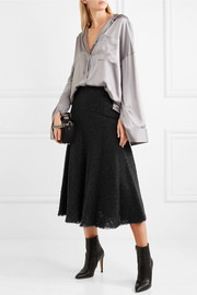 Metallic bouclé-tweed midi skirt