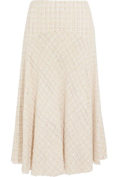 Alexander McQueen - Metallic Tweed Midi Skirt - Ivory