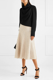 Alexander McQueen Metallic tweed midi skirt