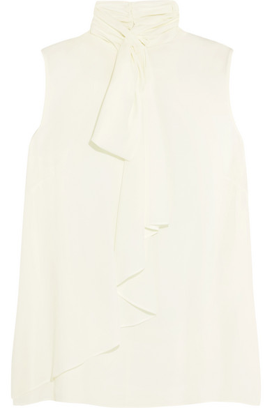Alexander McQueen - Draped Pussy-bow Silk-georgette Blouse - White