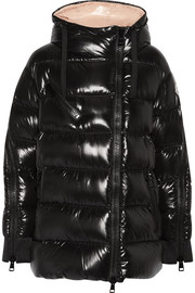 Liriope quilted glossed-shell down hooded coat