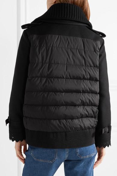 Moncler Clarissa Jacke aus Twill aus einer Wollmischung und gestepptem Shell