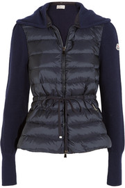 Moncler Quilted shell and ribbed wool down cardigan