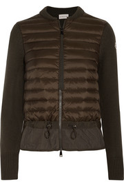 Moncler Quilted shell and ribbed-knit cardigan