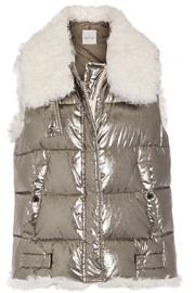 Moncler Kerria shearling-trimmed metallic quilted cotton down vest